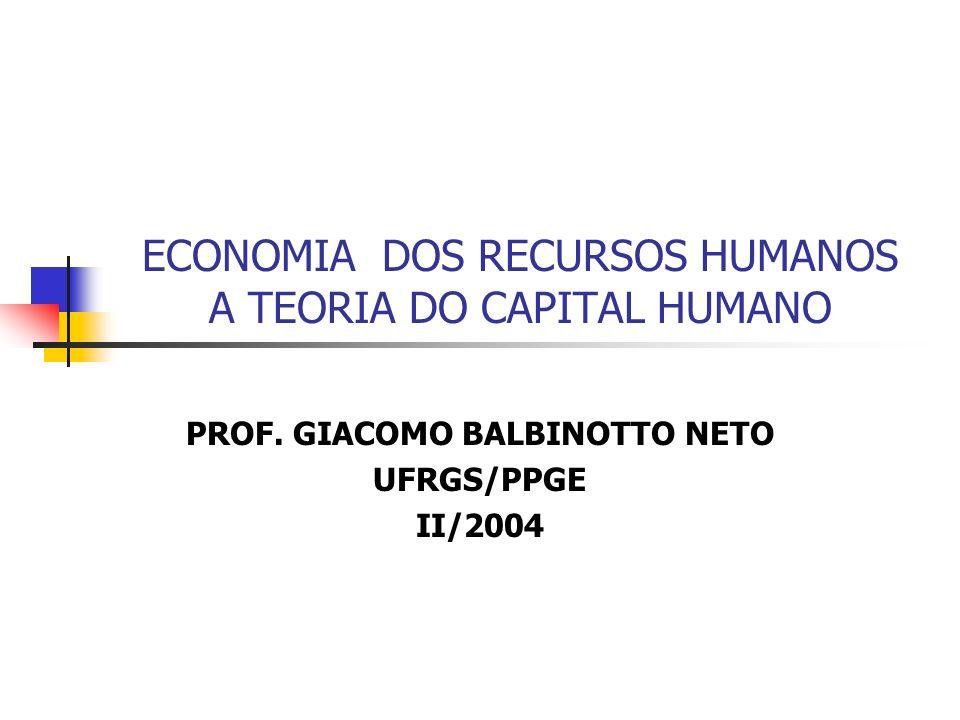 ECONOMIA DOS RECURSOS HUMANOS A TEORIA DO CAPITAL HUMANO PROF. GIACOMO BALBINOTTO NETO UFRGS/PPGE II/2004