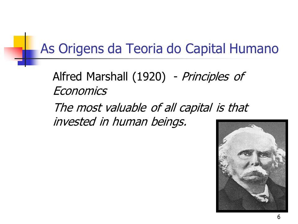 7 As Origens da Teoria do Capital Humano A Escola de Chicago Gary Becker (1960,1964) Jacob Mincer (1960) Theodore Schultz (1961)