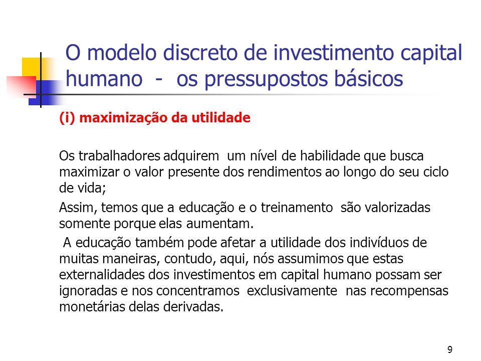 10 O modelo discreto de investimento capital humano - os pressupostos básicos (ii) o trabalhador enfrenta um trade off associado a cada decisão de continuar a estudar ou não, que dependerá dos retornos obtidos, dos custos de educação que ele fará face e de sua taxa de desconto intertemporal.