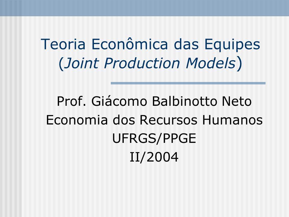 132 O modelo de Holmstrom (1992) [Rasmusen (1994)] Dada a condição de orçamento equilibrado e uma função de utilidade linear, o contrato Pareto ótimo que maximiza a soma das utilidades dos agentes que resolve o problema é dado por: n Max (qe) - v i (e i ) i=1