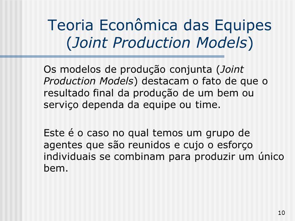 10 Teoria Econômica das Equipes (Joint Production Models) Os modelos de produção conjunta (Joint Production Models) destacam o fato de que o resultado final da produção de um bem ou serviço dependa da equipe ou time.