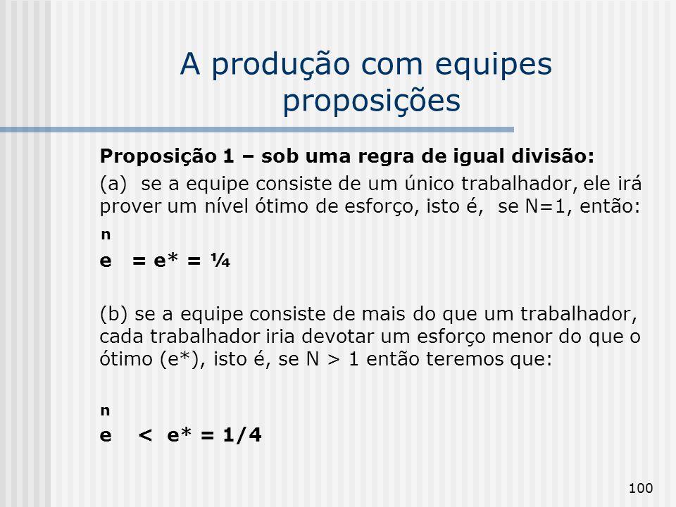 100 A produção com equipes proposições Proposição 1 – sob uma regra de igual divisão: (a) se a equipe consiste de um único trabalhador, ele irá prover um nível ótimo de esforço, isto é, se N=1, então: n e = e* = ¼ (b) se a equipe consiste de mais do que um trabalhador, cada trabalhador iria devotar um esforço menor do que o ótimo (e*), isto é, se N > 1 então teremos que: n e < e* = 1/4
