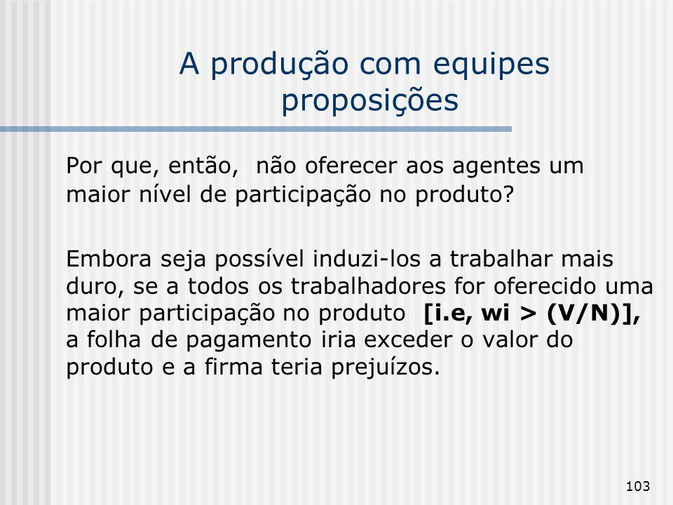 103 A produção com equipes proposições Por que, então, não oferecer aos agentes um maior nível de participação no produto? Embora seja possível induzi