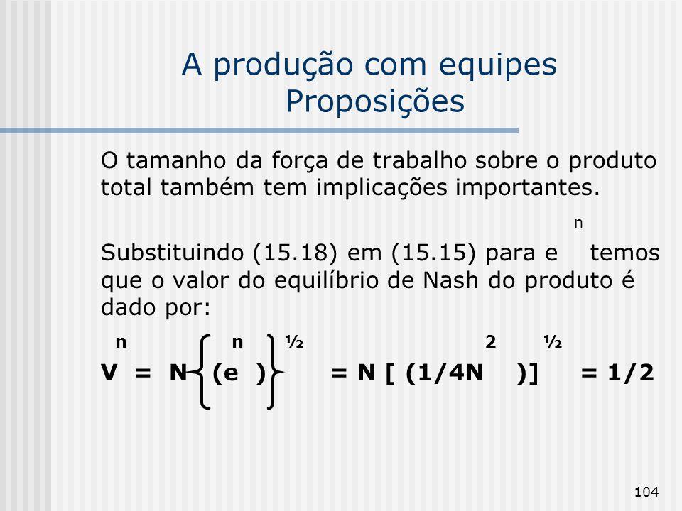 104 A produção com equipes Proposições O tamanho da força de trabalho sobre o produto total também tem implicações importantes. n Substituindo (15.18)