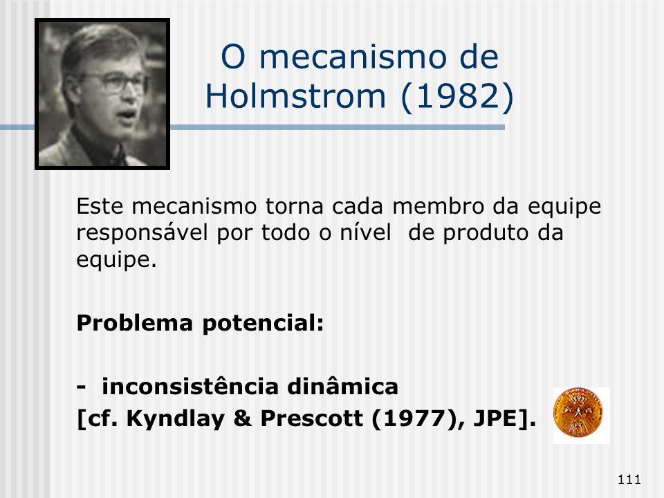 111 O mecanismo de Holmstrom (1982) Este mecanismo torna cada membro da equipe responsável por todo o nível de produto da equipe. Problema potencial: