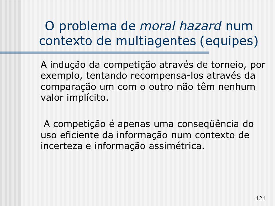 121 O problema de moral hazard num contexto de multiagentes (equipes) A indução da competição através de torneio, por exemplo, tentando recompensa-los