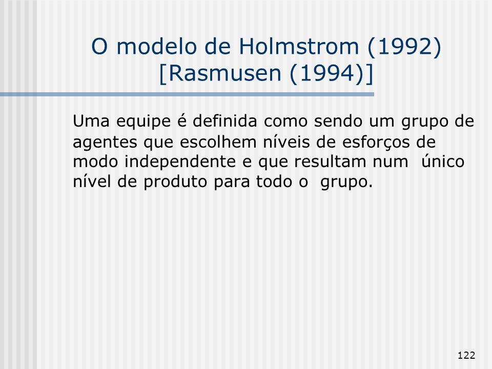122 O modelo de Holmstrom (1992) [Rasmusen (1994)] Uma equipe é definida como sendo um grupo de agentes que escolhem níveis de esforços de modo independente e que resultam num único nível de produto para todo o grupo.