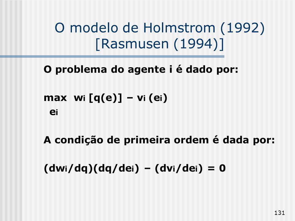131 O modelo de Holmstrom (1992) [Rasmusen (1994)] O problema do agente i é dado por: max w i [q(e)] – v i (e i ) e i A condição de primeira ordem é dada por: (dw i /dq)(dq/de i ) – (dv i /de i ) = 0