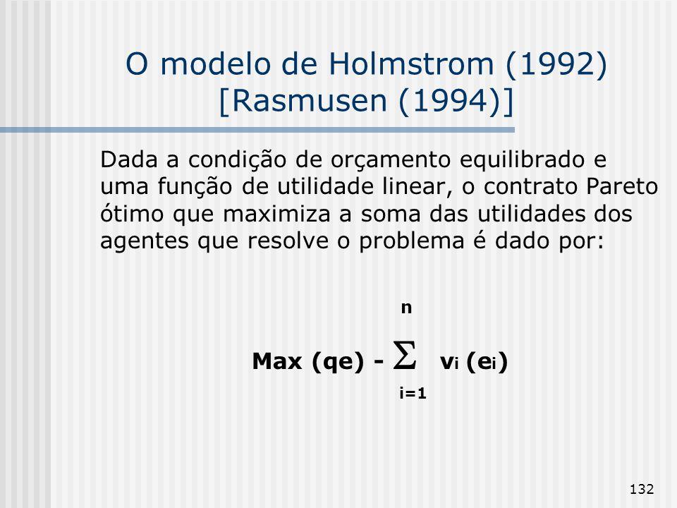 132 O modelo de Holmstrom (1992) [Rasmusen (1994)] Dada a condição de orçamento equilibrado e uma função de utilidade linear, o contrato Pareto ótimo