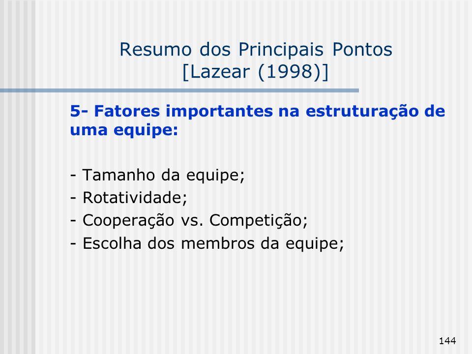144 Resumo dos Principais Pontos [Lazear (1998)] 5- Fatores importantes na estruturação de uma equipe: - Tamanho da equipe; - Rotatividade; - Cooperação vs.