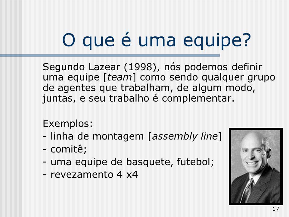 17 O que é uma equipe? Segundo Lazear (1998), nós podemos definir uma equipe [team] como sendo qualquer grupo de agentes que trabalham, de algum modo,