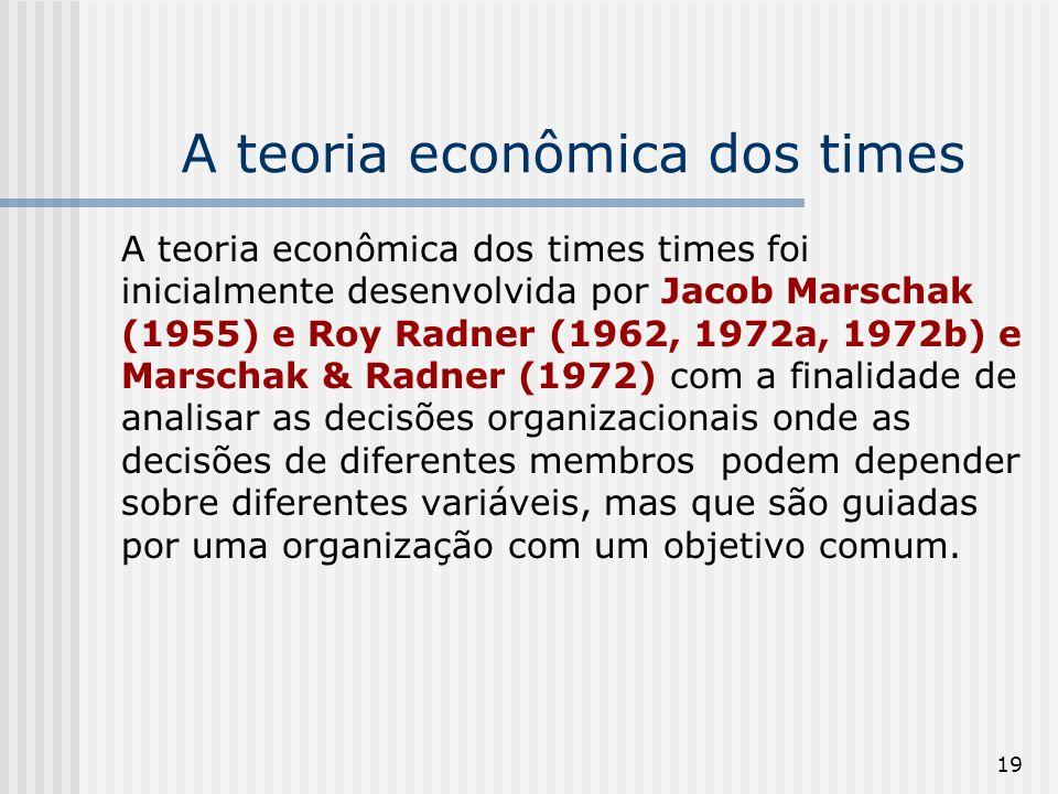 19 A teoria econômica dos times A teoria econômica dos times times foi inicialmente desenvolvida por Jacob Marschak (1955) e Roy Radner (1962, 1972a, 1972b) e Marschak & Radner (1972) com a finalidade de analisar as decisões organizacionais onde as decisões de diferentes membros podem depender sobre diferentes variáveis, mas que são guiadas por uma organização com um objetivo comum.