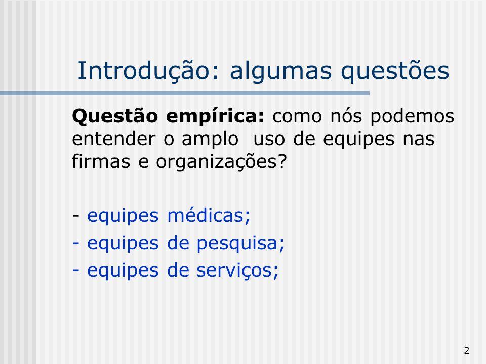 2 Introdução: algumas questões Questão empírica: como nós podemos entender o amplo uso de equipes nas firmas e organizações? - equipes médicas; - equi