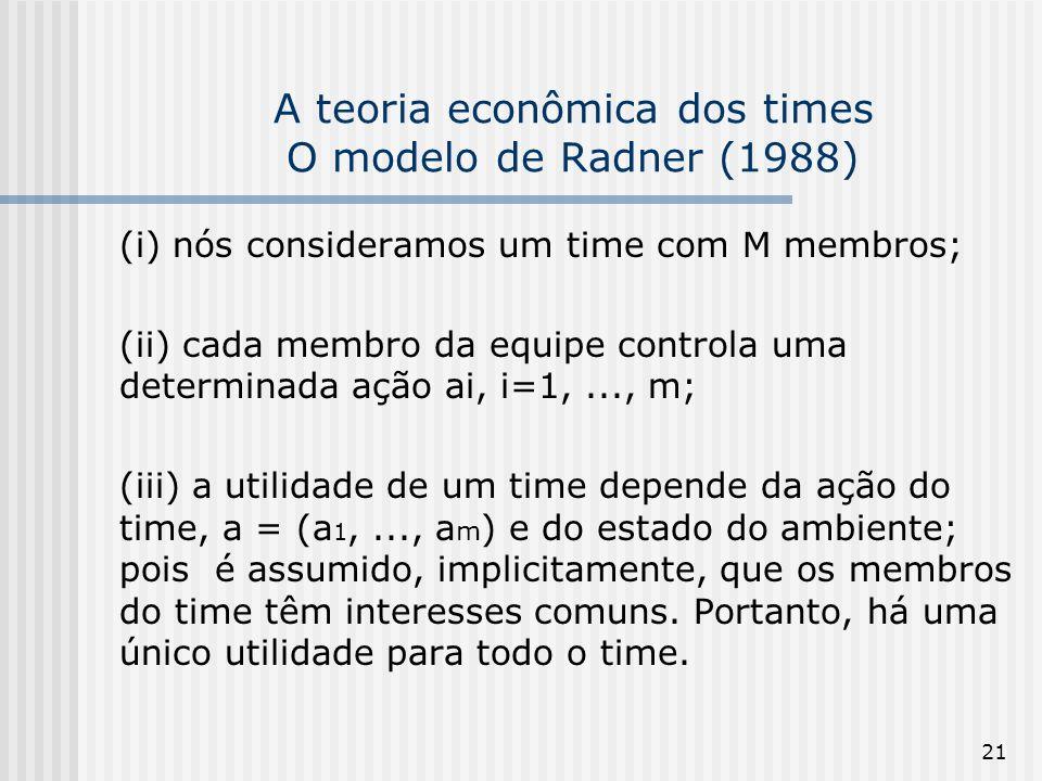 21 A teoria econômica dos times O modelo de Radner (1988) (i) nós consideramos um time com M membros; (ii) cada membro da equipe controla uma determinada ação ai, i=1,..., m; (iii) a utilidade de um time depende da ação do time, a = (a 1,..., a m ) e do estado do ambiente; pois é assumido, implicitamente, que os membros do time têm interesses comuns.