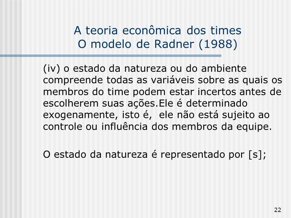22 A teoria econômica dos times O modelo de Radner (1988) (iv) o estado da natureza ou do ambiente compreende todas as variáveis sobre as quais os membros do time podem estar incertos antes de escolherem suas ações.Ele é determinado exogenamente, isto é, ele não está sujeito ao controle ou influência dos membros da equipe.