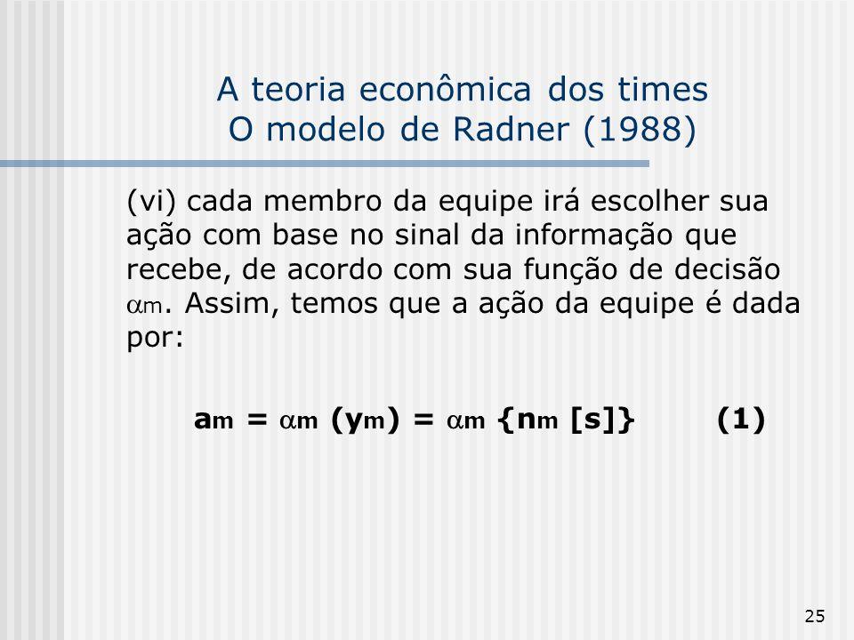 25 A teoria econômica dos times O modelo de Radner (1988) (vi) cada membro da equipe irá escolher sua ação com base no sinal da informação que recebe, de acordo com sua função de decisão m.