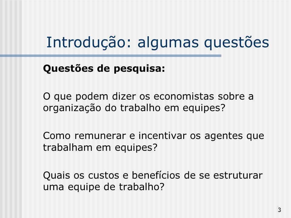 3 Introdução: algumas questões Questões de pesquisa: O que podem dizer os economistas sobre a organização do trabalho em equipes.