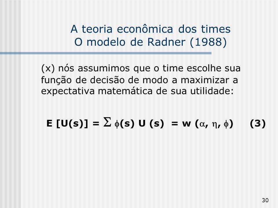 30 A teoria econômica dos times O modelo de Radner (1988) (x) nós assumimos que o time escolhe sua função de decisão de modo a maximizar a expectativa matemática de sua utilidade: E [U(s)] = (s) U (s) = w (,, ) (3)