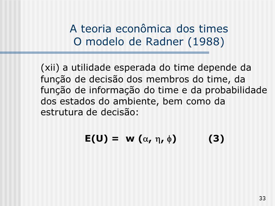 33 A teoria econômica dos times O modelo de Radner (1988) (xii) a utilidade esperada do time depende da função de decisão dos membros do time, da função de informação do time e da probabilidade dos estados do ambiente, bem como da estrutura de decisão: E(U) = w (,, ) (3)