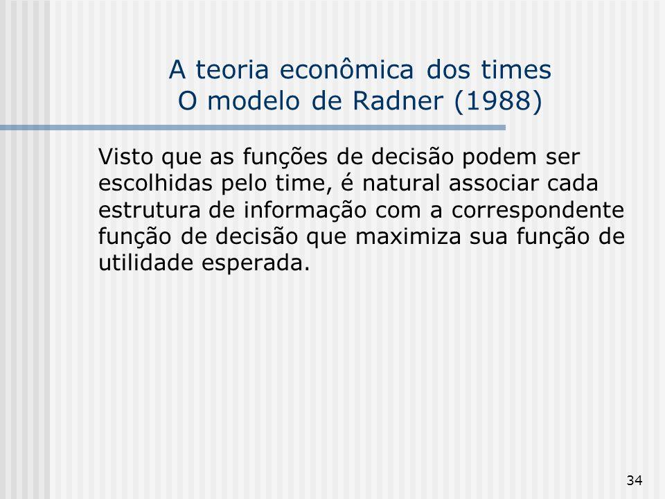 34 A teoria econômica dos times O modelo de Radner (1988) Visto que as funções de decisão podem ser escolhidas pelo time, é natural associar cada estrutura de informação com a correspondente função de decisão que maximiza sua função de utilidade esperada.