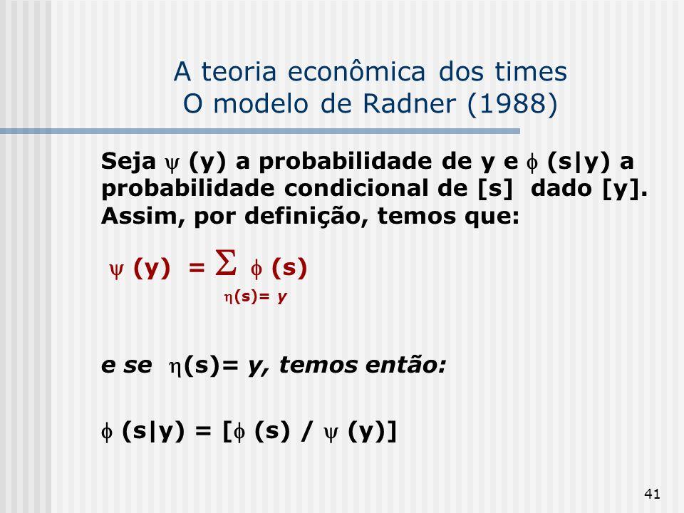 41 A teoria econômica dos times O modelo de Radner (1988) Seja (y) a probabilidade de y e (s|y) a probabilidade condicional de [s] dado [y]. Assim, po