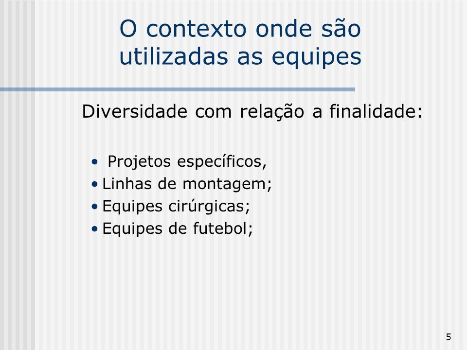 5 O contexto onde são utilizadas as equipes Diversidade com relação a finalidade: Projetos específicos, Linhas de montagem; Equipes cirúrgicas; Equipes de futebol;