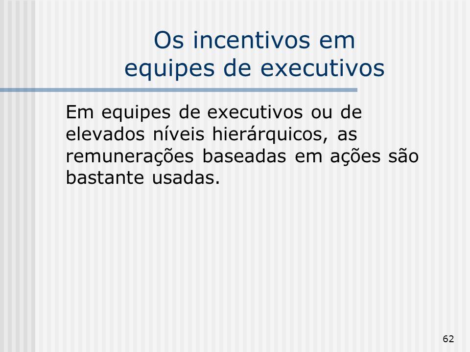 62 Os incentivos em equipes de executivos Em equipes de executivos ou de elevados níveis hierárquicos, as remunerações baseadas em ações são bastante usadas.