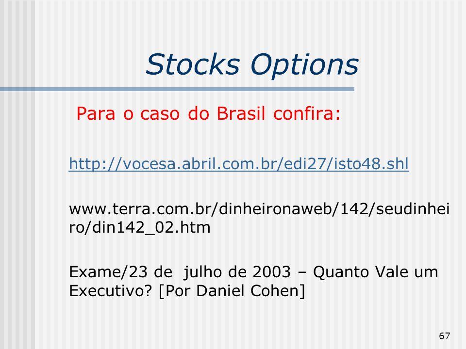 67 Stocks Options Para o caso do Brasil confira: http://vocesa.abril.com.br/edi27/isto48.shl www.terra.com.br/dinheironaweb/142/seudinhei ro/din142_02.htm Exame/23 de julho de 2003 – Quanto Vale um Executivo.