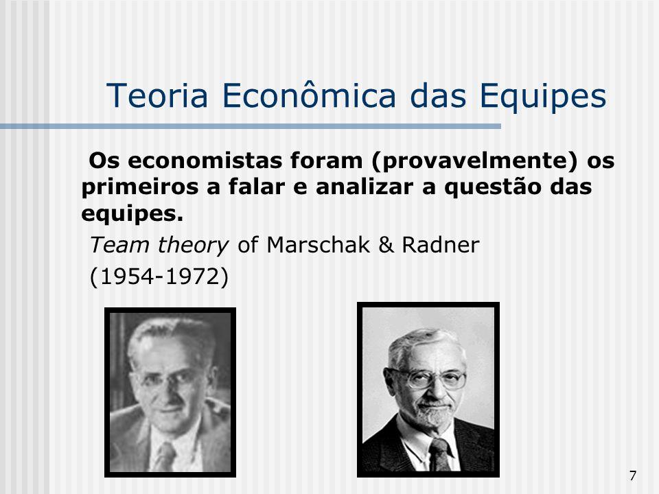 7 Teoria Econômica das Equipes Os economistas foram (provavelmente) os primeiros a falar e analizar a questão das equipes. Team theory of Marschak & R