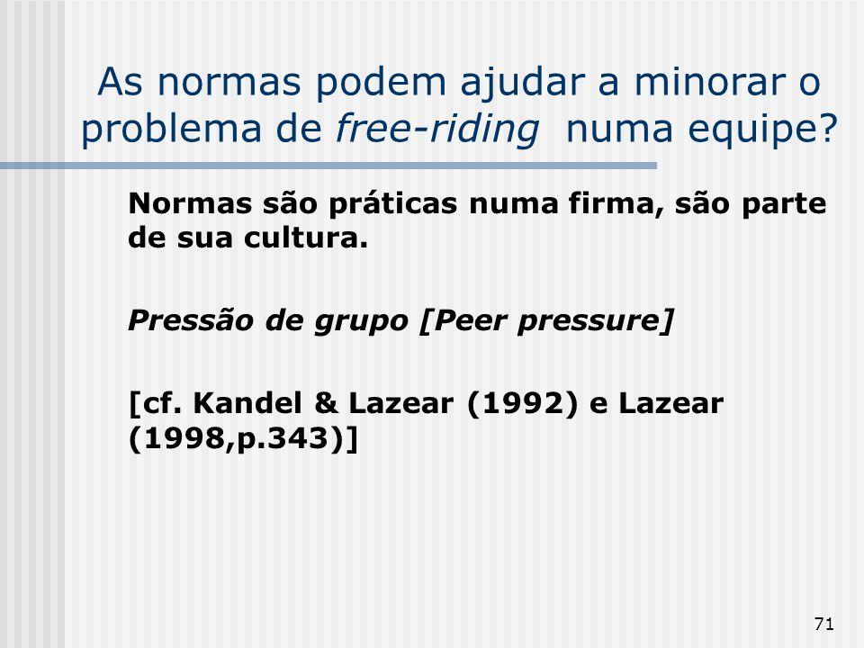 71 As normas podem ajudar a minorar o problema de free-riding numa equipe? Normas são práticas numa firma, são parte de sua cultura. Pressão de grupo