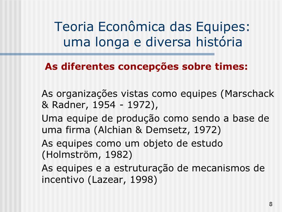 8 Teoria Econômica das Equipes: uma longa e diversa história As diferentes concepções sobre times: As organizações vistas como equipes (Marschack & Radner, 1954 - 1972), Uma equipe de produção como sendo a base de uma firma (Alchian & Demsetz, 1972) As equipes como um objeto de estudo (Holmström, 1982) As equipes e a estruturação de mecanismos de incentivo (Lazear, 1998)