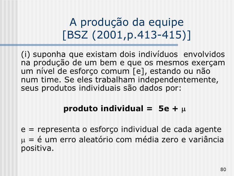 80 A produção da equipe [BSZ (2001,p.413-415)] (i) suponha que existam dois indivíduos envolvidos na produção de um bem e que os mesmos exerçam um nível de esforço comum [e], estando ou não num time.
