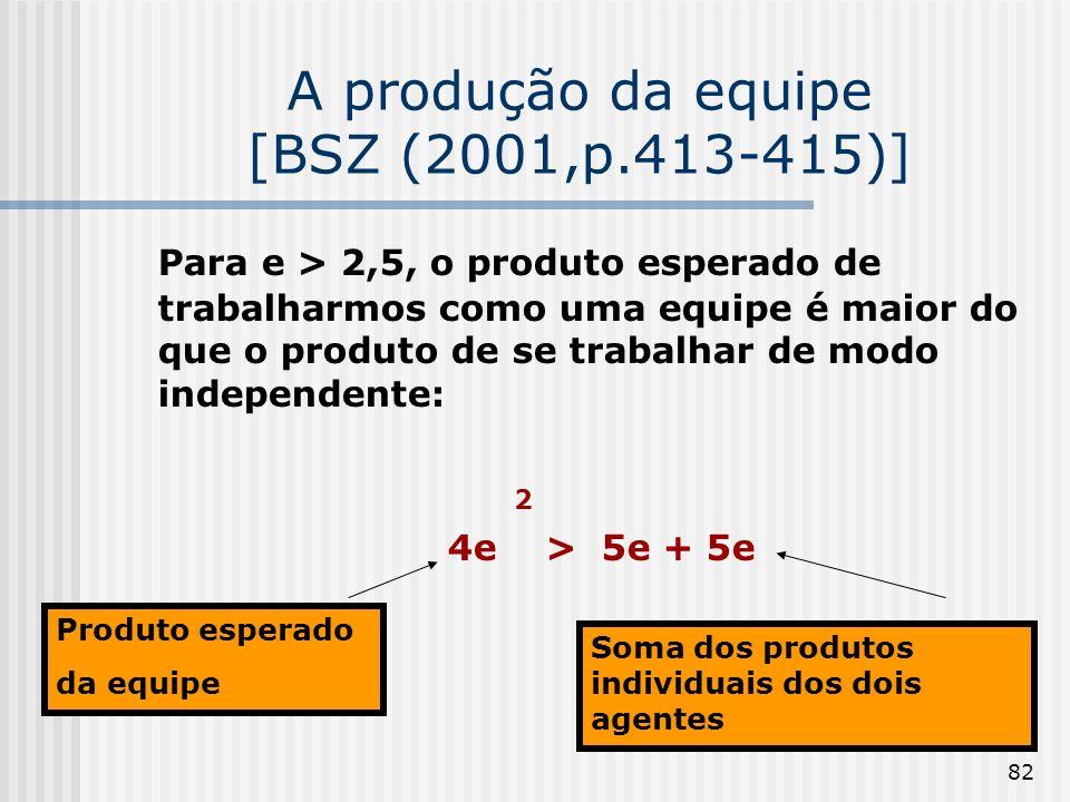 82 A produção da equipe [BSZ (2001,p.413-415)] Para e > 2,5, o produto esperado de trabalharmos como uma equipe é maior do que o produto de se trabalh