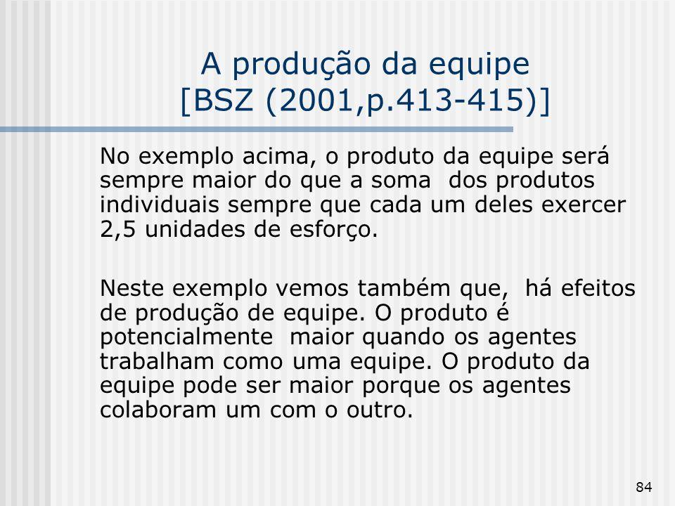 84 A produção da equipe [BSZ (2001,p.413-415)] No exemplo acima, o produto da equipe será sempre maior do que a soma dos produtos individuais sempre que cada um deles exercer 2,5 unidades de esforço.
