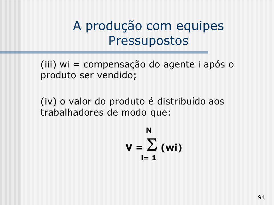 91 A produção com equipes Pressupostos (iii) wi = compensação do agente i após o produto ser vendido; (iv) o valor do produto é distribuído aos trabalhadores de modo que: N V = (wi) i= 1