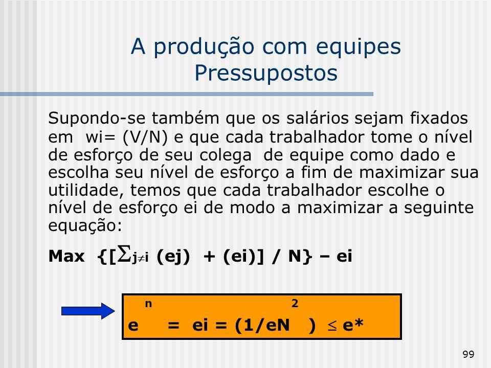 99 A produção com equipes Pressupostos Supondo-se também que os salários sejam fixados em wi= (V/N) e que cada trabalhador tome o nível de esforço de seu colega de equipe como dado e escolha seu nível de esforço a fim de maximizar sua utilidade, temos que cada trabalhador escolhe o nível de esforço ei de modo a maximizar a seguinte equação: Max {[ ji (ej) + (ei)] / N} – ei n 2 e = ei = (1/eN ) e*