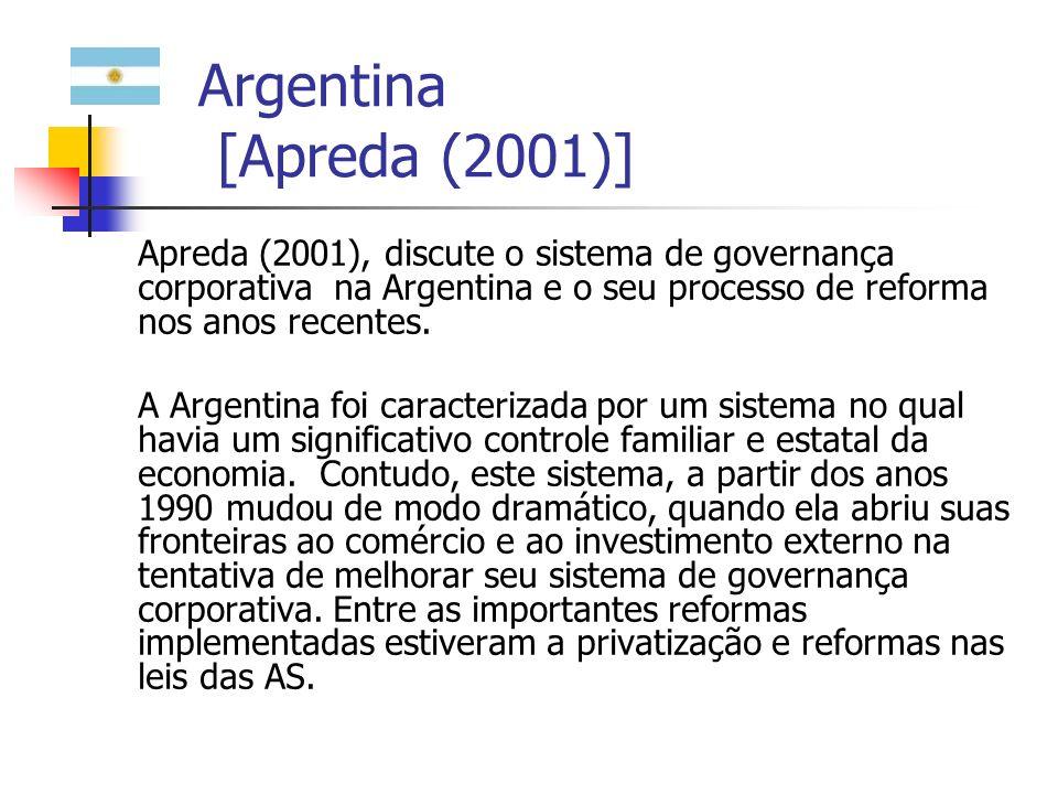 Argentina [Apreda (2001)] Entre as mudanças corporativas que se verificaram na Argentina a partir dos anos 1990, eles destaca: (i) a mudança na propriedade e controle das grandes firmas familiares para grupos estrangeiros e fundos de investimento; (ii) a Argentina seguiu a tradição dos países de commom law.