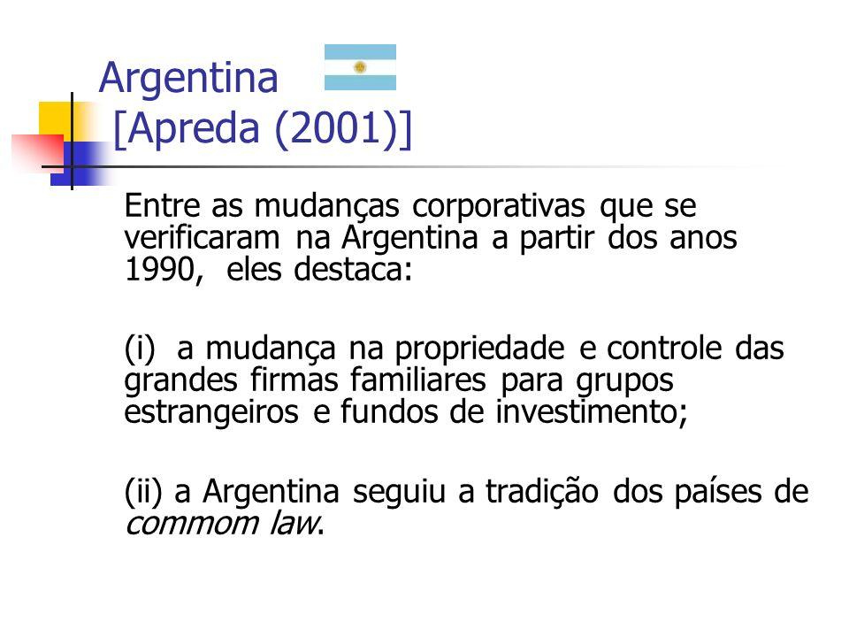 Argentina [Apreda (2001)] Entre as mudanças corporativas que se verificaram na Argentina a partir dos anos 1990, eles destaca: (i) a mudança na propri