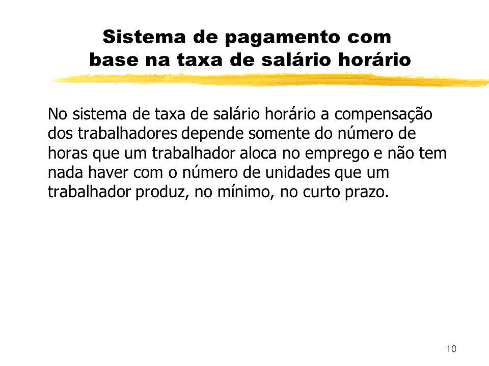 10 Sistema de pagamento com base na taxa de salário horário No sistema de taxa de salário horário a compensação dos trabalhadores depende somente do n