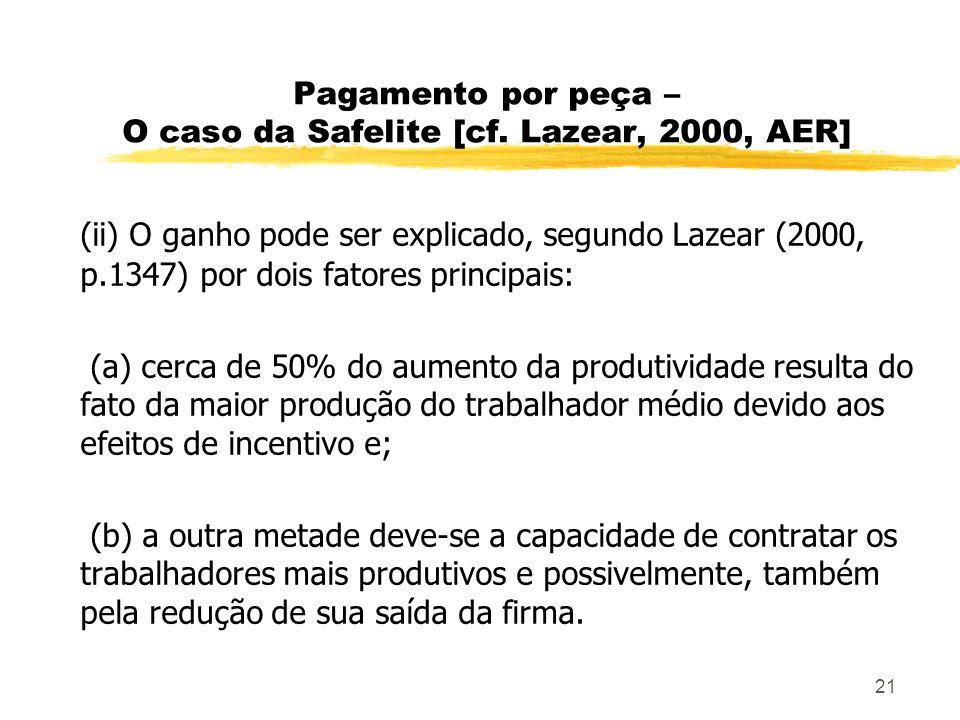 21 Pagamento por peça – O caso da Safelite [cf. Lazear, 2000, AER] (ii) O ganho pode ser explicado, segundo Lazear (2000, p.1347) por dois fatores pri