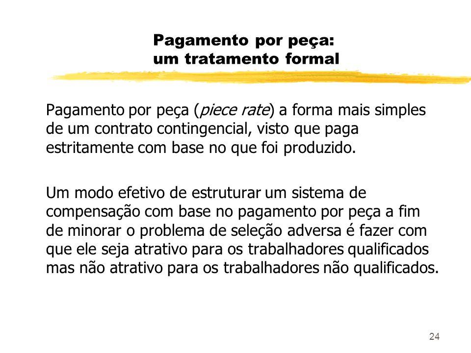 24 Pagamento por peça: um tratamento formal Pagamento por peça (piece rate) a forma mais simples de um contrato contingencial, visto que paga estritam