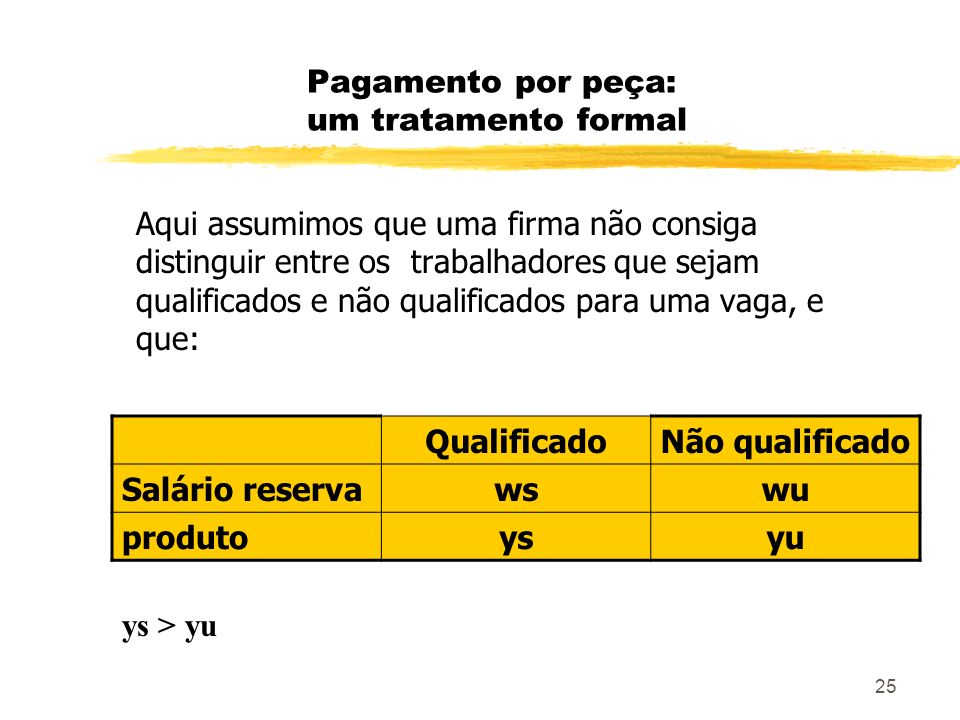 25 Pagamento por peça: um tratamento formal Aqui assumimos que uma firma não consiga distinguir entre os trabalhadores que sejam qualificados e não qu