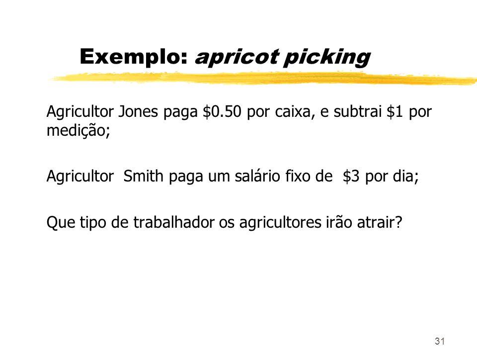 31 Exemplo: apricot picking Agricultor Jones paga $0.50 por caixa, e subtrai $1 por medição; Agricultor Smith paga um salário fixo de $3 por dia; Que