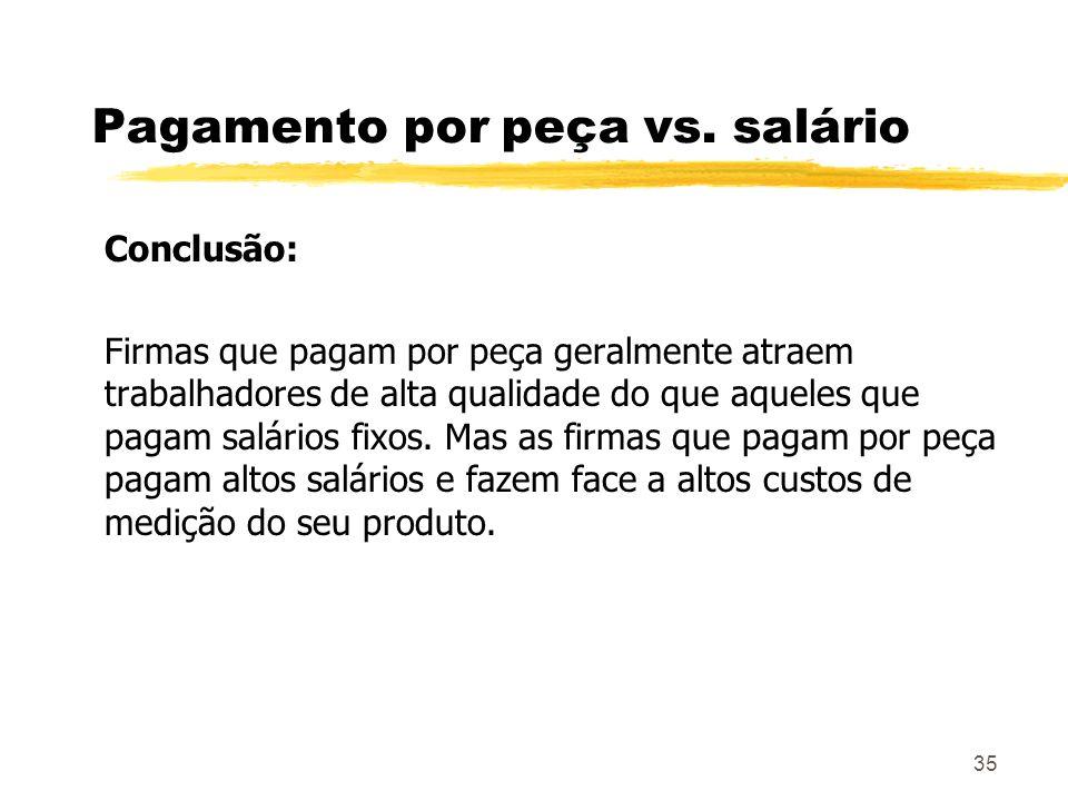 35 Pagamento por peça vs. salário Conclusão: Firmas que pagam por peça geralmente atraem trabalhadores de alta qualidade do que aqueles que pagam salá