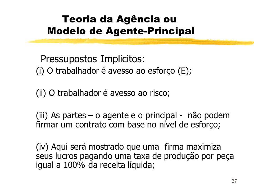 37 Teoria da Agência ou Modelo de Agente-Principal Pressupostos Implicitos: (i) O trabalhador é avesso ao esforço (E); (ii) O trabalhador é avesso ao