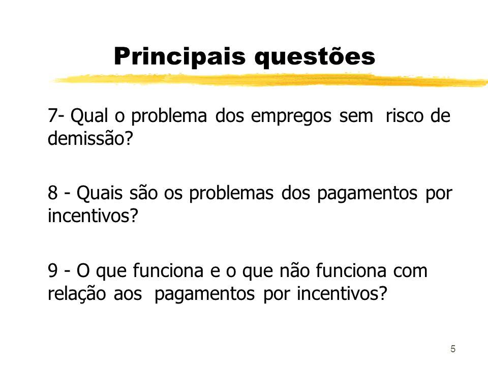 5 Principais questões 7- Qual o problema dos empregos sem risco de demissão? 8 - Quais são os problemas dos pagamentos por incentivos? 9 - O que funci