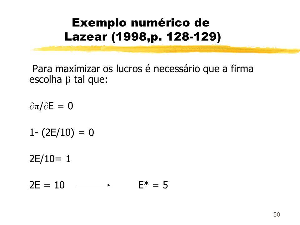 50 Exemplo numérico de Lazear (1998,p. 128-129) Para maximizar os lucros é necessário que a firma escolha tal que: / E = 0 1- (2E/10) = 0 2E/10= 1 2E