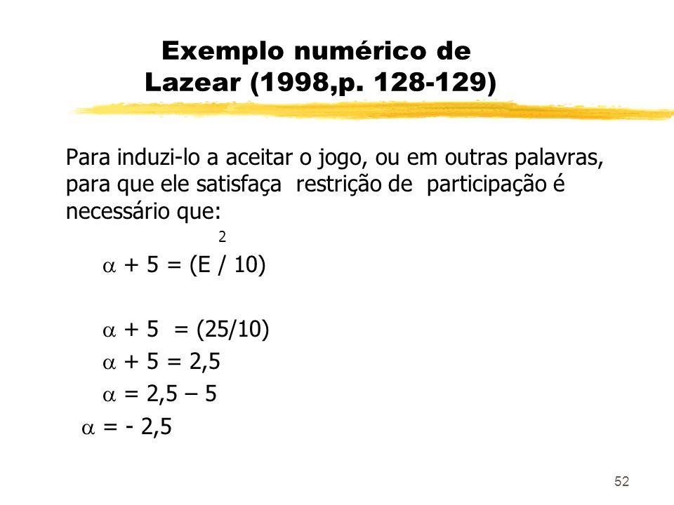 52 Exemplo numérico de Lazear (1998,p. 128-129) Para induzi-lo a aceitar o jogo, ou em outras palavras, para que ele satisfaça restrição de participaç