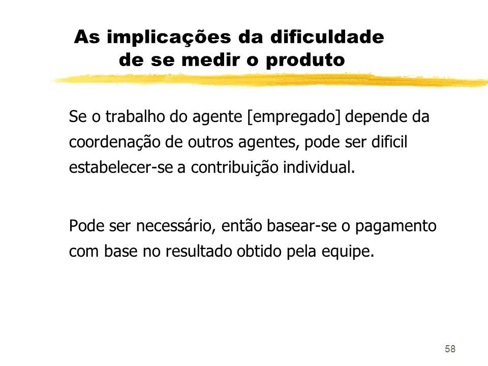 58 As implicações da dificuldade de se medir o produto Se o trabalho do agente [empregado] depende da coordenação de outros agentes, pode ser dificil