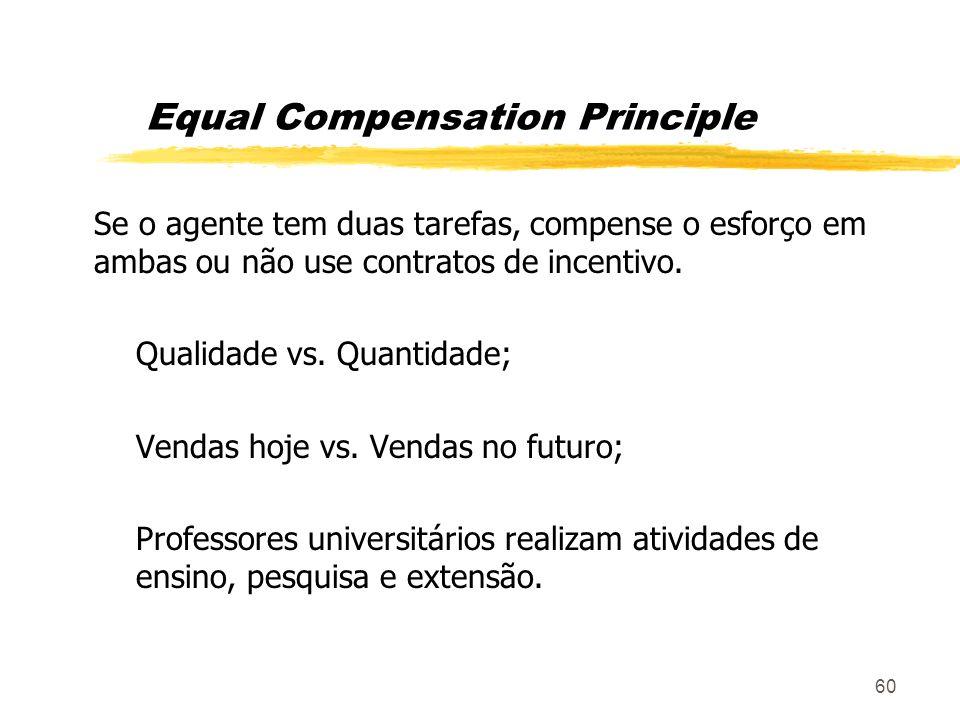 60 Equal Compensation Principle Se o agente tem duas tarefas, compense o esforço em ambas ou não use contratos de incentivo. Qualidade vs. Quantidade;